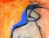 Seated lady on orange background
